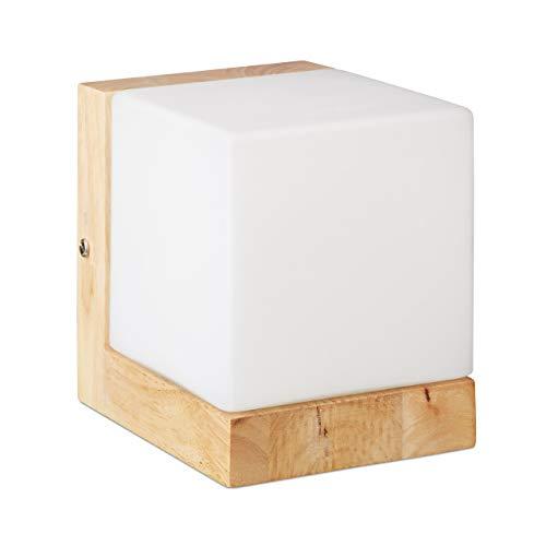 Relaxdays wandlamp kubus, kubus lamp voor warm licht, E27, melkglas, hout, 1-lamp, HBT: 15x12x15 cm, wit/natuur