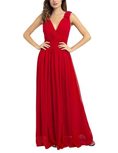 APART Damen Abendkleid mit tiefem V-Ausschnitt