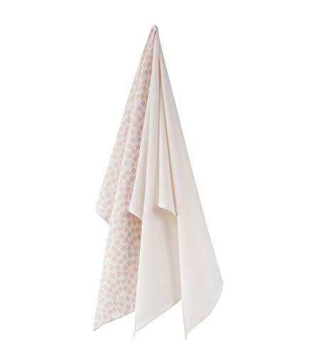 Meubletmoi – Juego de 3 paños de cocina de algodón blanco – Tonos rosa y flores – FIGGS