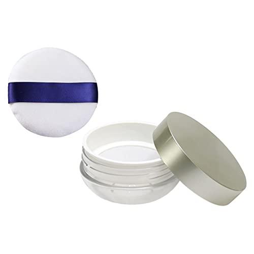 Beaupretty Puff de Polvo con Funda Polvo Suelto Contenedor Compacto DIY Estuche de Maquillaje en Polvo con Esponja en Polvo para Contornear Bajo Los Ojos Y Las Esquinas