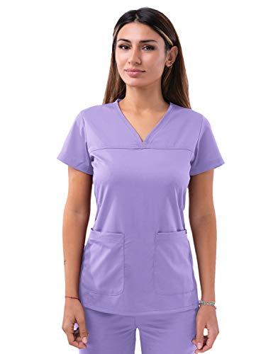 Adar Pro Scrubs for Women - Sweetheart V-Neck Scrub Top - P4210 - Lavender - S