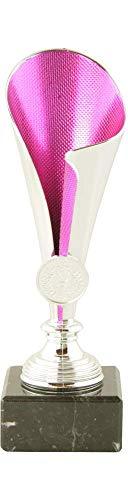 Mini Pokal Award Alabama inkl. hochwertigen Alu-Gravurschild mit Wunschtext (Silber-pink, 22 cm)