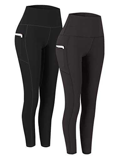 Fengbay 2 Pack High Waist Yoga Pants, Pocket Yoga Pants Tummy Control Workout Running 4 Way Stretch Yoga Leggings | Black & Navy, XX-Large