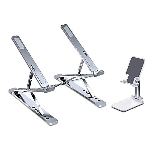 ZHAOMAI Soporte plegable para ordenador portátil, ergonómico y ligero, soporte multiángulo con ventilación de calor para elevar el soporte del ordenador, para el hogar y la oficina