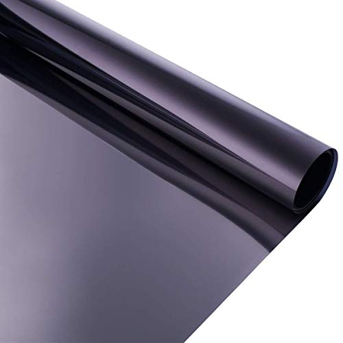 Coavas Sonnenschutzfolie Fensterfolie Spiegelfolie Selbstklebend Statisch Glasfolie Wärmeschutzfolie Anti-UV Tönungsaufkleber für Home und Büro, Schwarz, 60x200cm