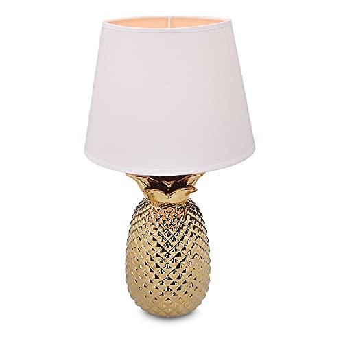 Navaris Tischlampe im Ananas Design - 40cm hoch - Deko Keramik Lampe für Nachttisch oder Beistelltisch - Dekolampe mit E27 Gewinde in Gold-Weiß