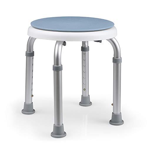 HAIRBY Tabouret de Douche, Tabouret de bain pivotant à 360°, réglable en hauteur sur 7 niveaux, pour les personnes handicapées, âgées et invalides, pieds antidérapants, antidérapant, sûr et Stable