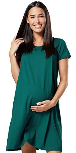 HAPPY MAMA. Para Mujer Camisón para el Parto Hospital Premamá Lactancia. 434p (Verde Oscuro, EU 38/40, M)