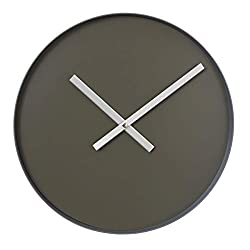 Blomus Rim Wall Clock 40.5cm/16in Tarmac Olive Face/Steel Grey Rim