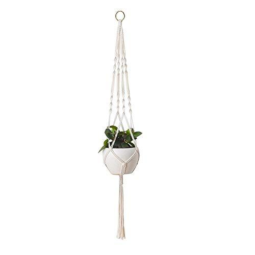 Macrame Plantenhanger, Handgemaakte Katoenen Touw Hangende Bloempotten Houder, Voor Thuis Balkon Raamdecoratie, (bloempot Niet Inbegrepen)