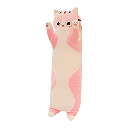 Long Cat Plush Cat Plushie Pillow Cute Kawaii Plush Toy Cat Pillow, Cute Anime Pillow Stuffed Animal Toy, Stuffed Cat Decoration Gift Birthday Valentine's Day Gift for Boys and Girls (Pink 19.7inch)