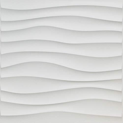 Art3d Plastic 3D Wall Panel PVC Wave Wall Design, White, 19.7