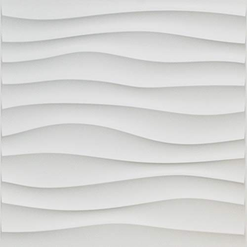 "Art3d Plastic 3D Wall Panel PVC Wave Wall Design, White, 19.7"" x 19.7"" (12-Pack)"