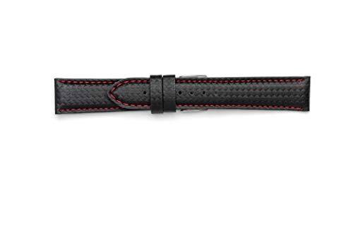 Correa de fibra de carbono impermeable de 18 mm, 20 mm, 22 mm, 24 mm. Fabricada en Italia con material técnico resistente al agua. Correa 24 - 22 rojo
