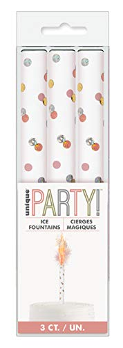 Unique Party 84021 84021-Glitz Rose Gold Fountain Candles, Pack of 3, Happy Birthday