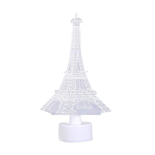 LA TALUS Christmas Tree Ornaments Xmas Party Hanging Decor Santa E-iffel Towers Colorful LED Acrylic Plate Light Table Lamp Christmas Decor - Eiffel Tower#
