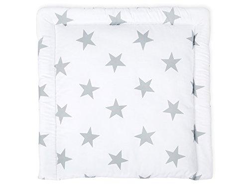 KraftKids Wickelauflage in große graue Sterne auf Weiss, Wickelunterlage 60x70 cm (BxT), Wickelkissen