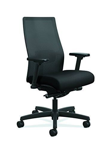 HON Ignition 2.0 Mid-Back Adjustable Lumbar Work Chair - Black Mesh Computer Chair for Office Desk, Black Fabric (HONI2M2AMLC10TK)