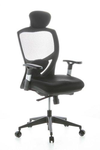 hjh OFFICE 657100 Profi Drehstuhl VENUS BASE Stoff Schwarz ergonomischer Bürostuhl mit Netzrücken & Lordosenstütze