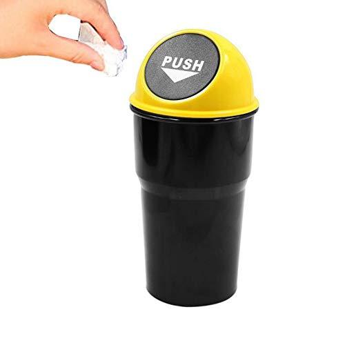 JUNSHUO Basurero Papelera para Coche Oficina Casa,Papelera de Escritorio Mini Papelera Coche con Cubierta de Primavera Cubo de Almacenamiento Cubo de Basura Contenedor Portátil de Plástico (Amarillo)