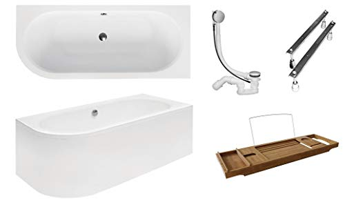BESCO AVITA badkuip 180 x 80 cm acryl set schort sifon bad hoek hoekbad wit design modern afvoergarnituur RECHTS hoekig 180 x 80 cm Bak + schort + afvoer + voeten + badplank