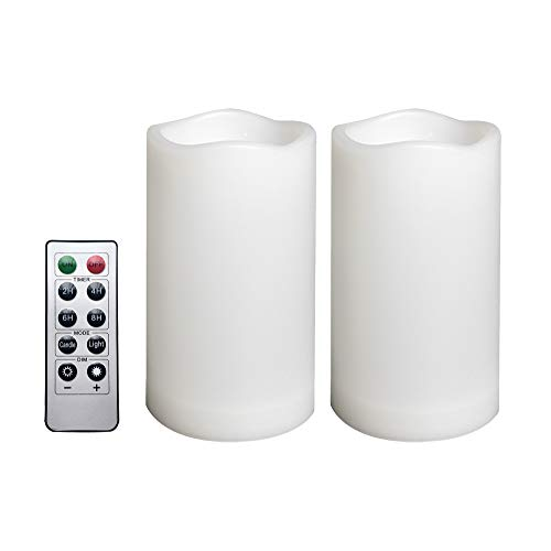 """2 Pack Outdoor Flameless Pillar Candles with Remote and Timer Waterproof Battery Operated Electric LED Candle Set for Gift Home Décor Party Wedding Supplies Garden Christmas Decoration, 3"""" x 5"""""""