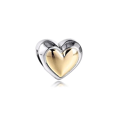 Pandora 925 plata esterlina DIY joyería Charmfit pulsera k oro corazón doméstico abalorios dorados para hacer joyas para mujeres