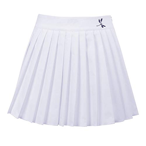Womens Short Skirt Sexy Basic Solid Versatile Dragonfly Print Stretchy Flared Casual Mini Skater High Waist Pleated Lace-Up Y2k Tennis School Skirt White