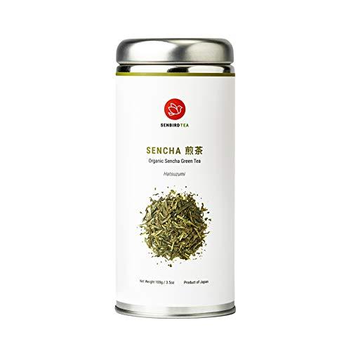 Senbird Organic Sencha Green Tea - Hatsuzumi Sencha   100g Japanese Classic Green Tea Fukamushi Sencha From Shizuoka, Japan   Organic Japanese Loose Leaf Green Tea in Airtight Tea Tin
