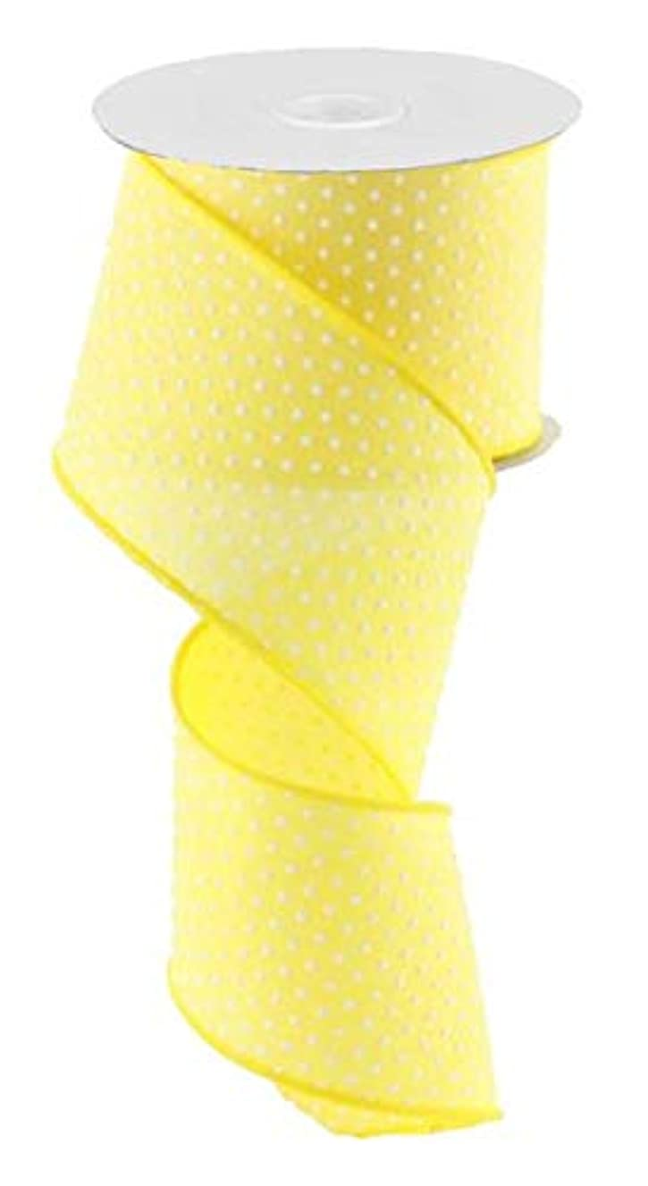 Yellow White Raised Swiss Polka Dots Wired Ribbon (2.5 Inches x 10 Yards)