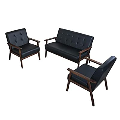 JIASTING Mid Century 1 Loveseat Sofa and 2 Accent Chairs Set Modern Wood Arm Couch and Chair Living Room Furniture Sets