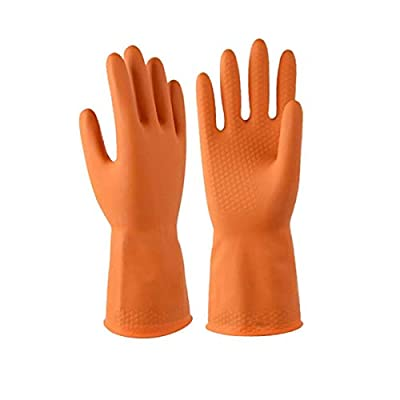 Double One Chemical Resistant Gloves,Safety Work Cleaning Protective Heavy Duty Industrial Gloves,Natural Latex 1 Pair