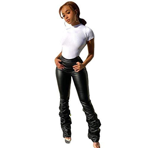 HAOXUAN Pantalones De Motociclista De Cuero De Imitación para Mujer Leggings con Volantes Pantalones con Parte Inferior De Campana Legging De Cintura Alta Adecuado para Motociclista,Negro,L