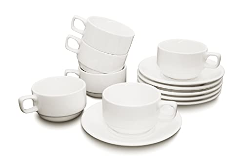 Magfullind 7 Ounce White Porcelain Cups with Saucers - Set of 6, Perfect for Specialty Coffee Drinks, Cappuccino, Latte, Mocha, etc. and Tea!