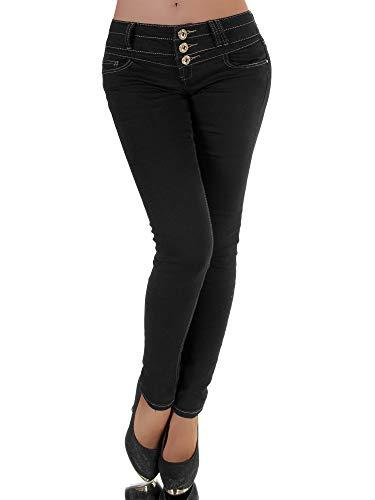 Diva-Jeans P142 Damen Jeans Hose Hüfthose Damenjeans Hüftjeans Röhrenjeans Röhrenhose Röhre, Schwarz, 38