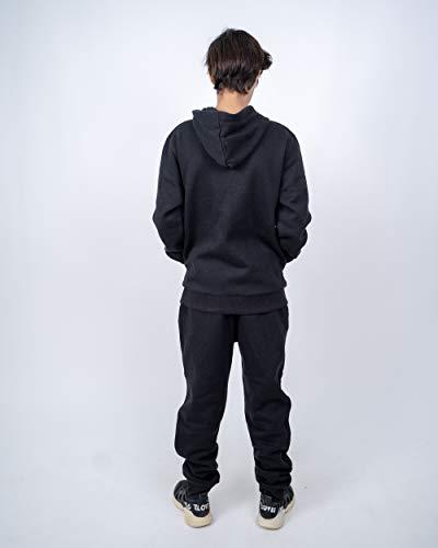 NOROZE Boys Girls Plain Fleece Gym Sports Joggers Full Tracksuit Set Kids Hoodie Tops Bottom Trouser (Black, 13 Years)