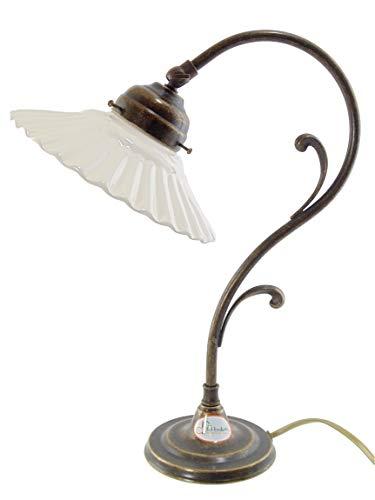 Lampe aus brüniertem Messing im Jugendstil für Tische, Schreibtische flach Keramik M36 Maße: H 36,5 cm, Ø Glas 19 cm, Ø Basis 13 cm. Maße mit Teller. Lampenfassung Edison-Gewinde E14