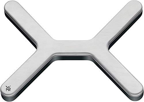 WMF Moto Topfuntersetzer, 16 x 13 cm, Chromozone, Cromargan Edelstahl mattiert, Untersetzer für Töpfe, Pfannen, heiße Auflaufformen, schwarz