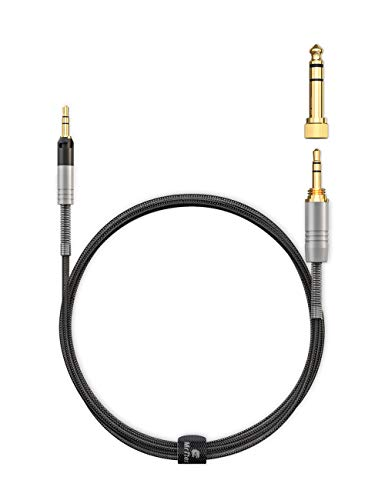 Mr Rex 5ft Headphone Aux Replacement Cable Cord for Audio Technica ATH-M50x M40x M70x Upgraded Braided 2.5mm to 3.5mm Stereo Jack Wire with Detachable 6.35mm Adapter & Twist-to-Lock Connector Design