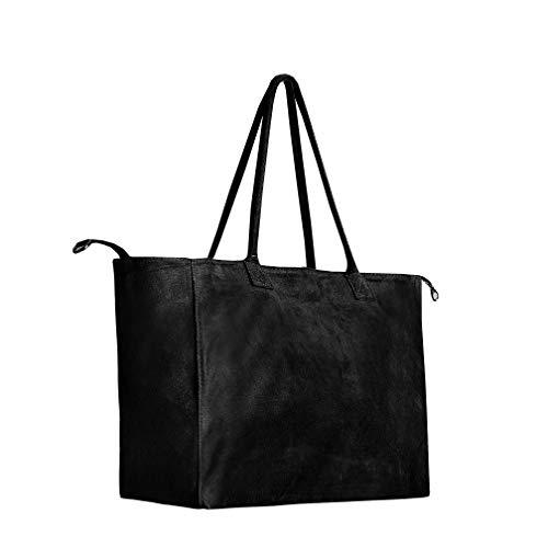 SKUTARI Wildleder Luciana Ruvido Original Wildleder Shopper Laptoptasche aus Veloursleder mit extra langen Griffen und Innenreißverschlusstasche   52cm x 29cm x 18cm (52cm x 29cm x 18cm, Schwarz)