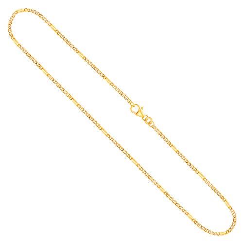 Cadena para hombre de oro real de 1.9 mm, cadena de panzer oro amarillo 8 k 333, cadena de oro con sello, con cierre de langosta, long. 45 cm, p. 3.2 g