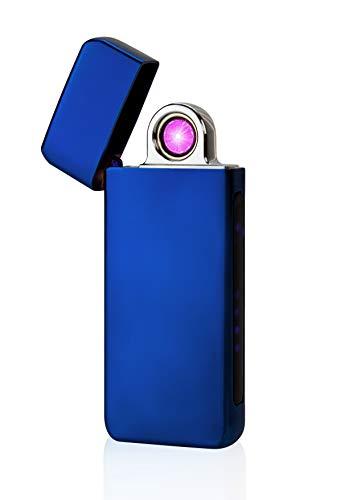 TESLA Lighter T16 Turbo Lichtbogen-Feuerzeug, elektronisches USB Feuerzeug, Double-Arc Lighter, wiederaufladbar Blau