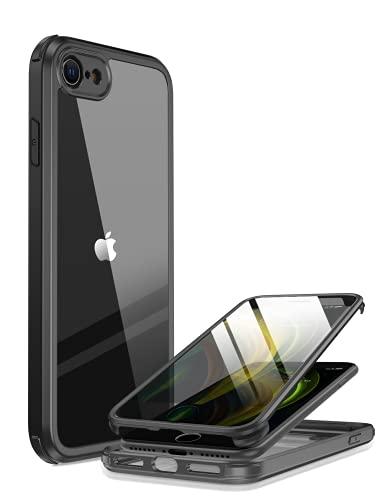 Miracase 360 Grad Hülle kompatibel mit iPhone SE 2020 / iPhone 8, Ganzkörper Schutzhülle mit eingebauter Glas Bildschirmschutzfolie, Stoßfeste Fullbody Handyhülle, Schwarz