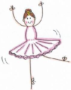 Lindsay Mason Designs Blatt Stempel, Motiv Ballerina mit Schlaufen, bunt