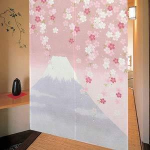 MSFREN - Tapiz japonés Noren para puerta con flores de cerezo rosa Fuji Mountain Sakura