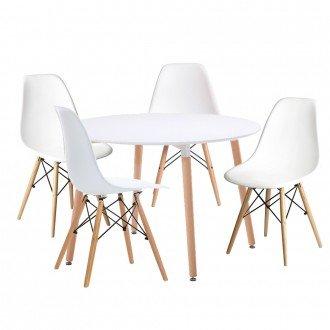 Woopi Conjunto Mesa 100 + 4 sillas Tower Blancas