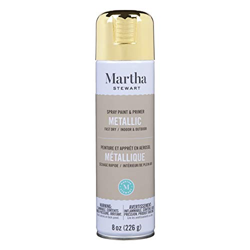Martha Stewart Paint & Primer 8oz Spray Paint, Metallic Gold...