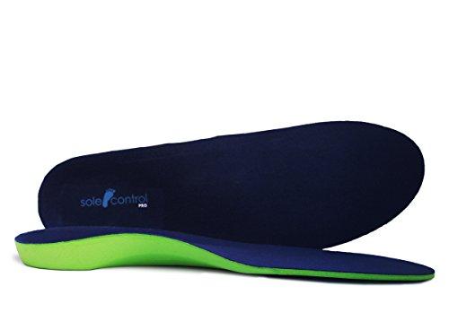 Sole Control PRO Solette Supporto Plantare Lunghezza Integrale con Cuscinetto Metatarso e Tallone per Trattamento delle Fasciti Plantari - Colore a Scelta - Verde/Blu, 41.5-43 L