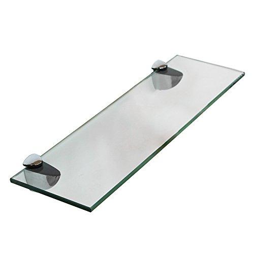 Melko Glasablage, Glasregal ideal für Bad, Dusche und zur modernen Dekoration mit Halterung aus Edelstahl 50 x 10 x 0,6 cm, Klarglas