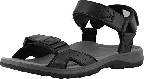 Vionic Men's Canoe Leo Backstrap Sandal - Adjustable Sandals with Concealed Orthotic Arch Support Black 7 M US